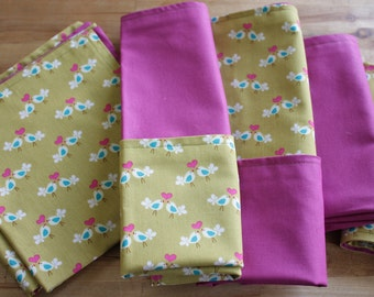double layered cloth napkins - cute love birds print and magenta solid - 6 for 30