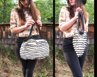 60s FEMININE FRILLS Pleated Tiered Handbag Purse, Black and White