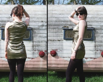 COSTUME vtg Liquid Gold LAME Dress, Child's Small or xxs