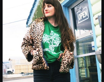 reserved////////////////vtg LEOPARD PRINT Fuzzy Furry Swing Jacket, Small