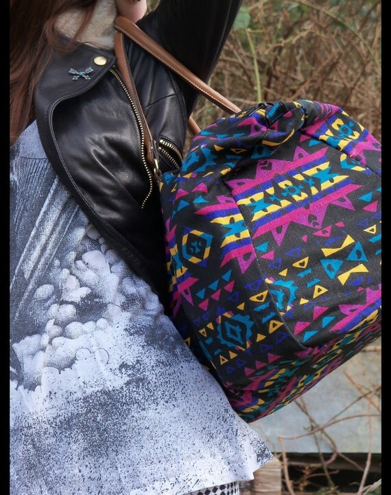 vtg 90s SOUTHWESTERN Weekender Duffle Bag