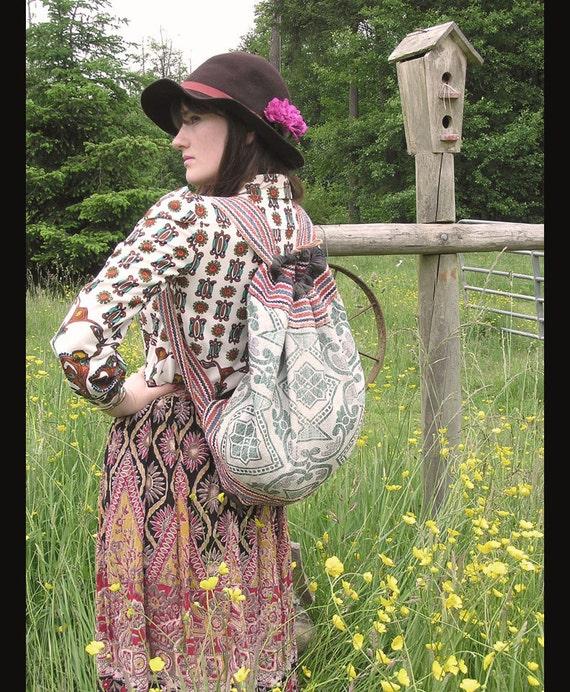 vtg MINT BROCADE Unique Ethnic Tapestry Drawstring Backpack, Sling Shoulder bag