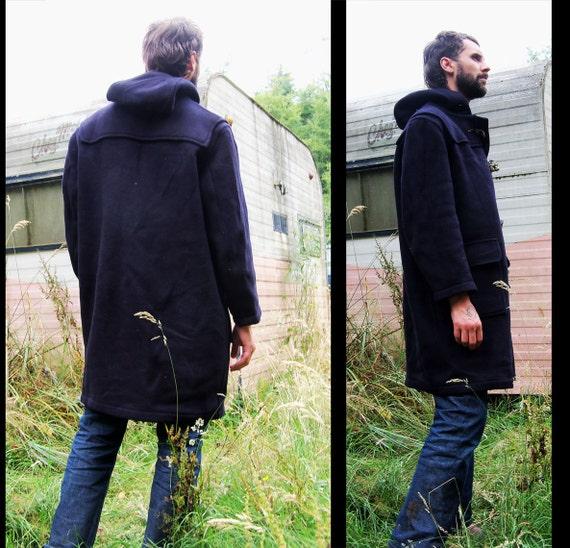 vtg GLOVERALL Men's Navy Wool Duffle Coat, Gb 40 Us 16 Eu 44