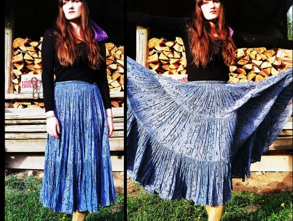 INDIAN COTTON Tiered Gauze Full Circle Hippie Maxi Skirt