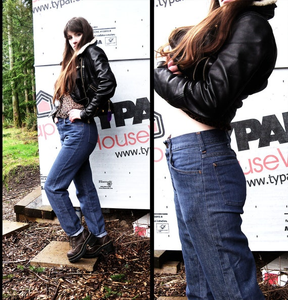 60s vtg PINUP Relaxed High Waisted DISTRESSED Blue Jeans, xs Small