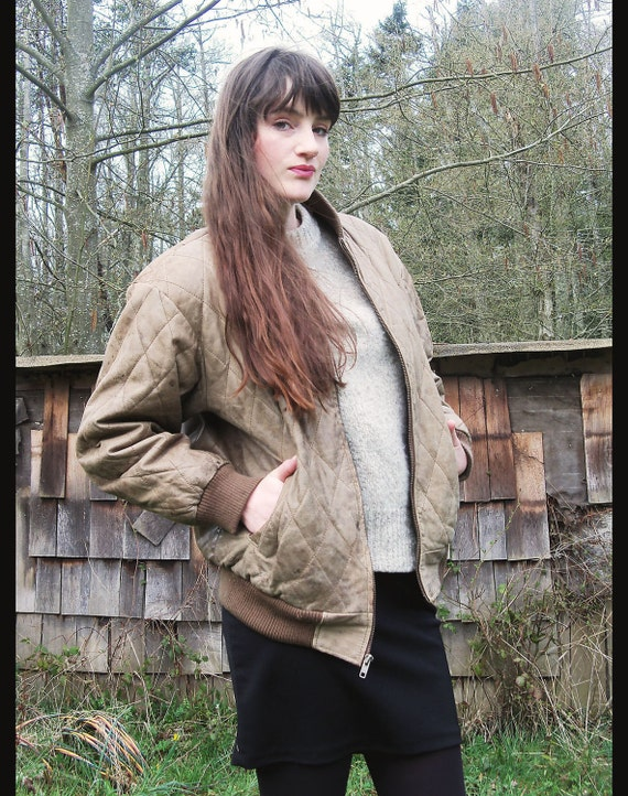 vintage LEATHER JACKET Distressed QUILTED Bomber Aviator Equestrian Style