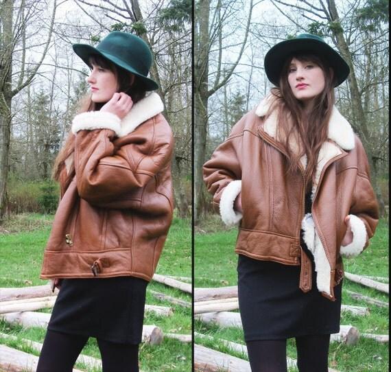 vintage GENUINE SHEEPSKIN Aviator Leather Jacket, Large