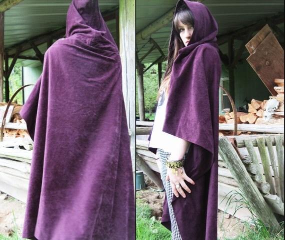 vintage COSTUME CAPE Hooded Cloak in Deep Aubergine, Handmade
