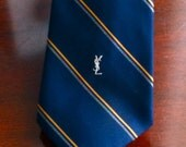 Vintage Designer  Yves Saint Laurent Signature Logo Neck Tie Navy Excellent condition YSL Paris New York