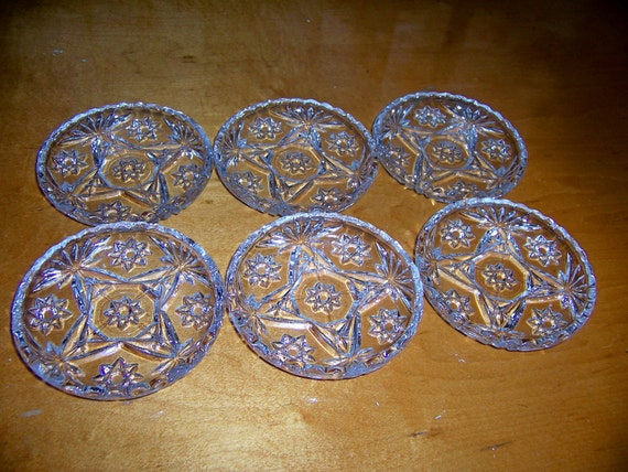 Set of Six Early American Pressed Glass Coasters-EAPG