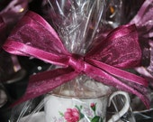 Set of 4 Victorian Rose Tea Cup Candle Favors