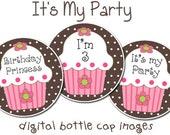 Birthday Cupcakes (brown) DIGITAL Bottle Cap Image Set, 1 inch Bottle Cap Images for buttons, necklaces, etc...