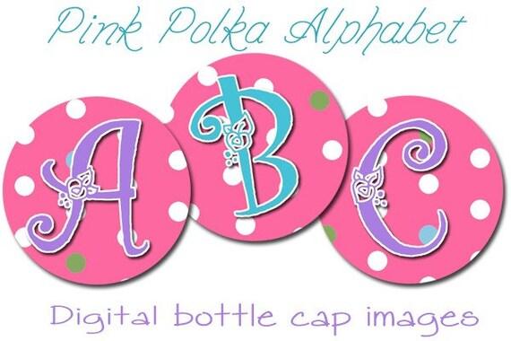 """INSTANT DOWNLOAD Pink Polka Dot Digital Alphabet Set 1"""" Bottle Cap Images for Hair Bows"""