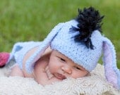 Eeyore inspired Gloomy Donkey Crochet Baby Hat and Diaper Cover Costume or Photo Prop