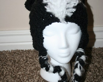 Crochet Skunk hat with earflaps and braids for adults or teens