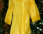 Vintage, 70's, peasant, dress, top, bathing suit cover up, yellow