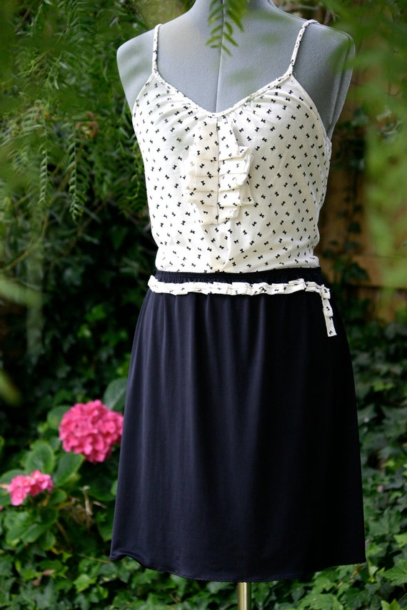 Black and White Bows mini dress, upcycled, eco, chic