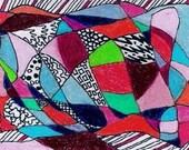 "Original ACEO Art ""Crazytime"" Colored pencil"