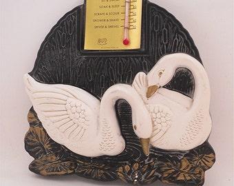 Vintage Bath Thermometer, Swan Chalkware Bathometer