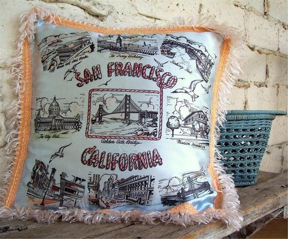 Vintage Souvenir Pillow, San Fransisco California Memorabilia