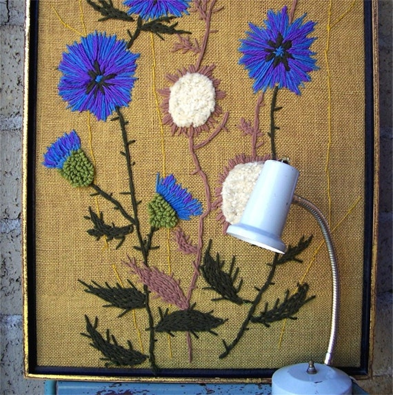 Vintage Crewel Embroidery Picture, XL Framed, Handmade on Burlap
