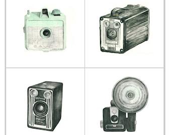 camera print set - four 5x5 giclee art prints -- vintage camera watercolor prints (with savoy) // wall art