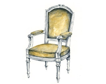 8x10 - antique French chair -- giclee watercolor print