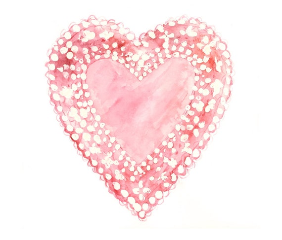 8x10 - pink heart watercolor giclee print