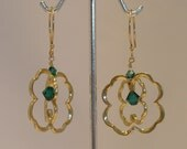 Emerald green Swarovski crystal shamrock earrings