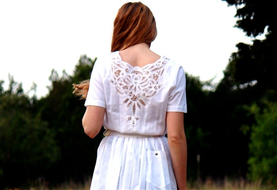 Vintage White Dress with Lace Embelishments