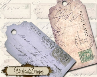 Postcard Tags Labels printable paper craft art hobby crafting scrapbooking instant download digital collage sheet - VD0003