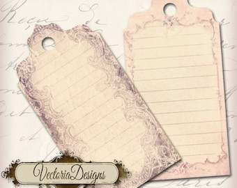 Shabby Chic Tags - printable / add your own text - VD0004