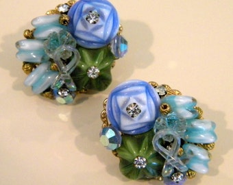 Periwinkle, Moss Green and Aqua Cluster Glass Earrings
