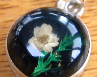 Sterling silver real flowers pendant