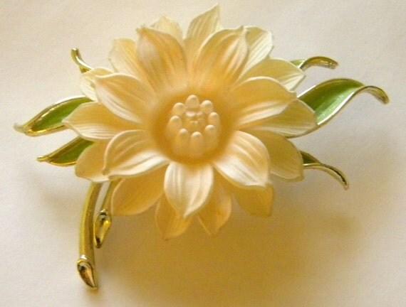 white cream flower brooch