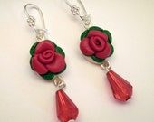 Red Rose Clay Cameo Earrings Handmade - SoDreamy Collection BijottiCiciotti - Wedding favors, bridal jewelry