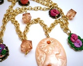 Roses Cameo Long Necklace bridal necklace gold long necklace