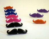Mustache Earrings Handmade one pair in many colors