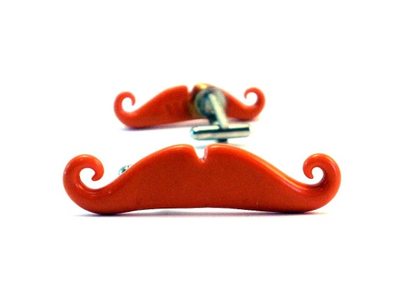Tangerine or Yellow Mustache Cufflinks Orange cufflinks Yellow wedding favors groomsmens gifts