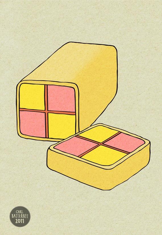 Battenberg Cake - Illustration Print