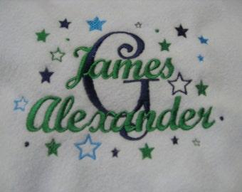 Embroidered Baby Boy Fleece Blanket Personalized Crib
