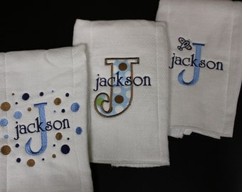 Personalized Embroidered Baby Burp Cloth 3 set Boy