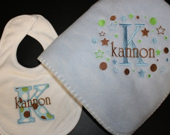 Personalized Baby Bib Applique and Fleece Blanket Boy