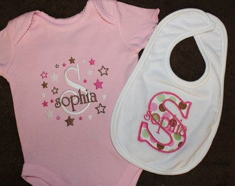 Baby Bib Applique and Onesie Creeper bodysuit Girl Personalized B127