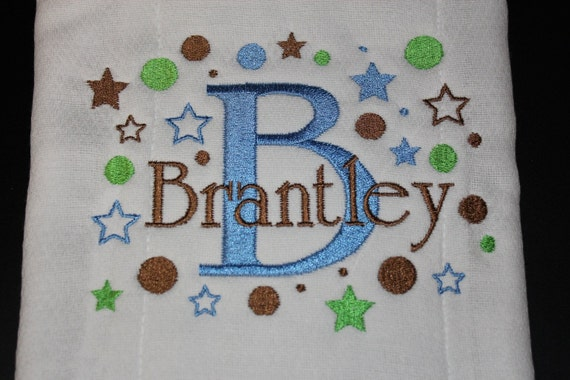 Personalized Blue or White Fleece Baby Blanket -10