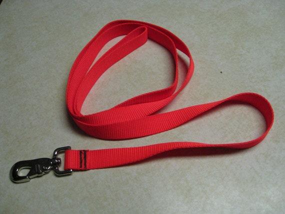 Personalized Embroidered Dog ID Leash - 1 inch hunters orange - 6 foot leash