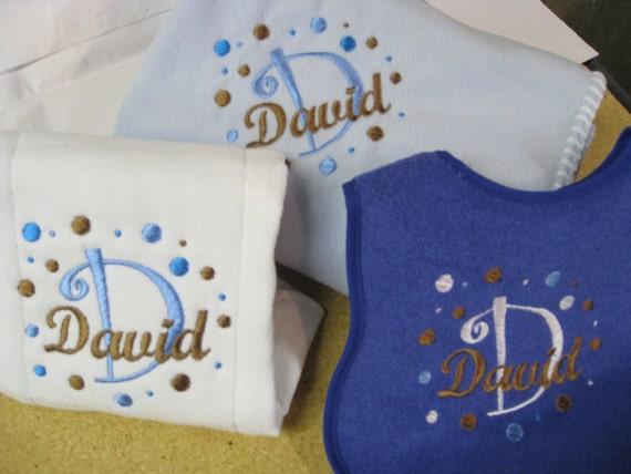 Personalized Baby Boy Newborn Layette Set - Blanket, Burp Cloth, Bib B142