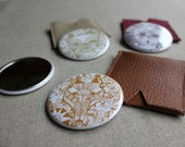 Illustrated pocket mirror with leather case