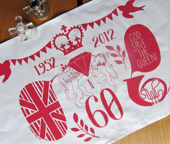 Queen's Diamond Jubilee tea towel to mark 60 years on the throne