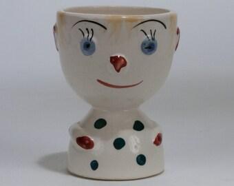 Vintage Japanese Ceramic Egg Cup Boy